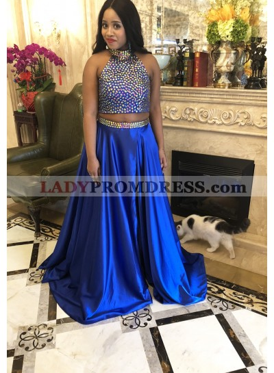 LadyPromDress 2021 Ball Gown Two Piece Prom Dresses Royal Blue Queen