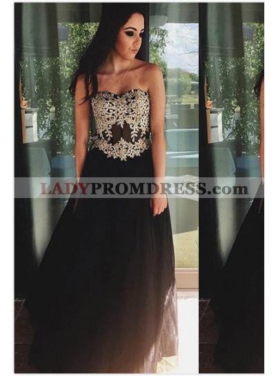 Appliques Sweetheart Satin Prom Dresses 2019 Junoesque Black
