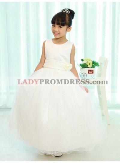 A-line/Princess Scoop Sleeveless Sash/Ribbon/Belt Long Organza First Communion Dresses / Flower Girl Dresses