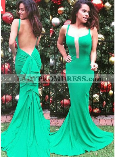 Open Back Ruffled Sweep Train Green Prom Dresses