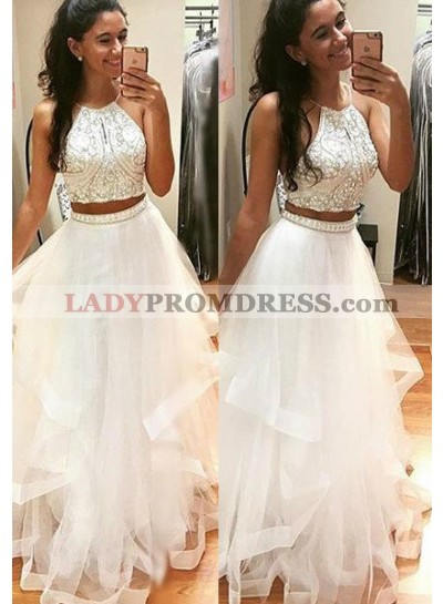 2021 Unique White Beading A-Line/Princess Tulle Two Pieces Prom Dresses