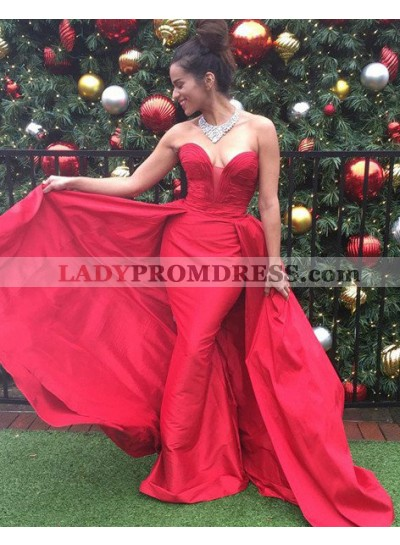 2019 Gorgeous Red Ruching Sweetheart A-Line/Princess Satin Prom Dresses
