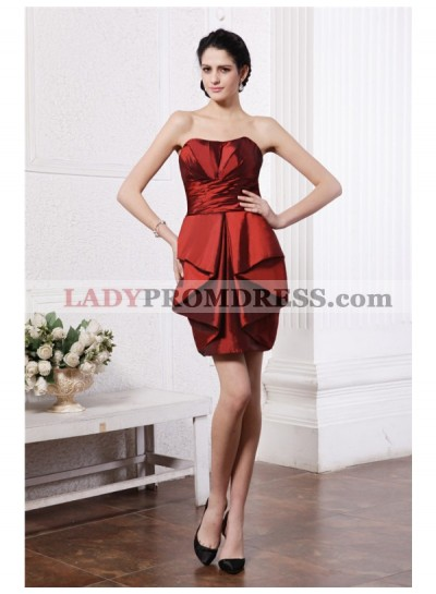 Column Sheath Strapless Sleeveless Pleats Short Taffeta Homecoming Dresses