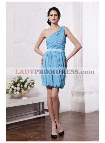 Column Sheath One-Shoulder Sleeveless Pleats Short Chiffon Homecoming Dresses