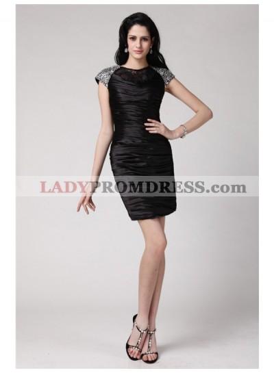 Column Sheath Scoop Short Sleeves Beading Lace Short Elastic Woven Satin Homecoming Dresses
