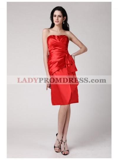 Column Sheath Strapless Sleeveless Pleats Short Elastic Woven Satin Homecoming Dresses