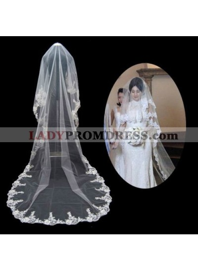 Nice Cathedral With Embroidery Wedding Veil