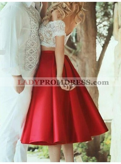 A-Line Princess Sleeveless Off-the-Shoulder Satin Lace Knee-Length Two Piece Homecoming Dresses