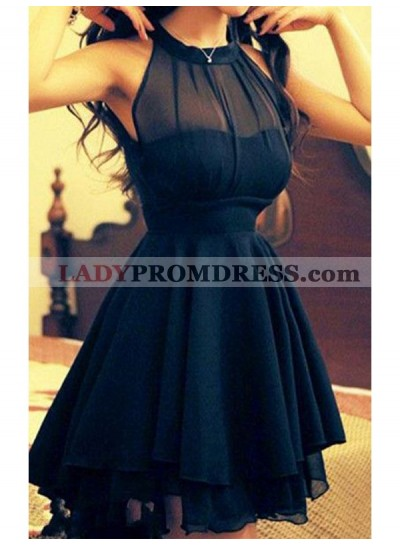 A-Line Princess Jewel Sleeveless Chiffon Short Homecoming Dresses