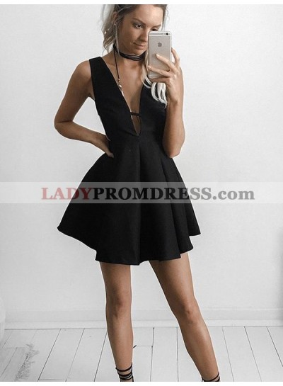 A-Line Princess Sleeveless V-neck Short Jersey Dresses