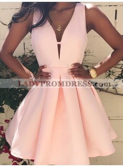 A-Line Princess Sleeveless V-neck Short Satin Homecoming Dresses