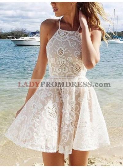 A-Line Princess Sleeveless Halter Lace Spandax Short Homecoming Dresses