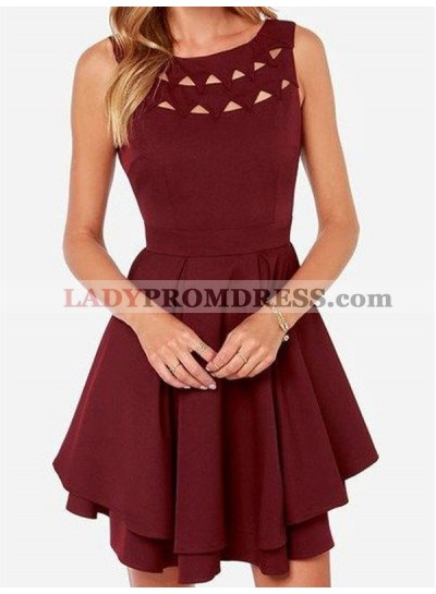 A-Line Princess Sleeveless Scoop Jersey Short Homecoming Dresses
