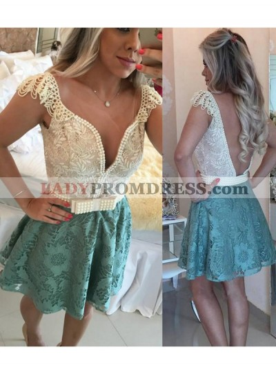 A-Line Princess Sleeveless V-neck Beading Lace Short Homecoming Dresses