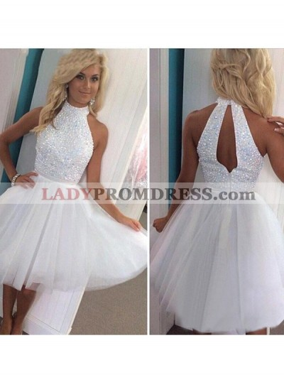A-Line Princess Sleeveless Halter Beading Tulle Short Homecoming Dresses