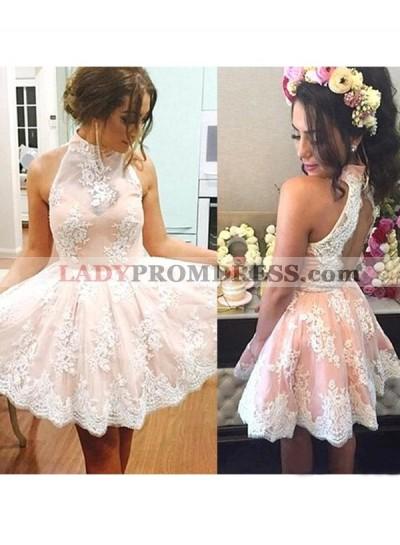 A-Line Princess Sleeveless High Neck Lace Short Homecoming Dresses