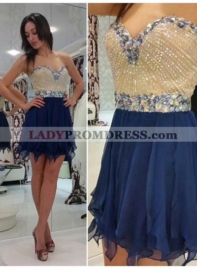 A-Line Princess Sleeveless Sweetheart Beading Chiffon Short Homecoming Dresses