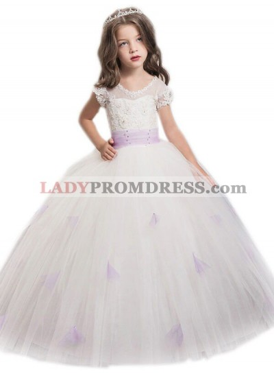 Ball Gown Jewel Short Sleeves Sash/Ribbon/Belt Floor-Length Tulle First Communion Dresses / Flower Girl Dresses