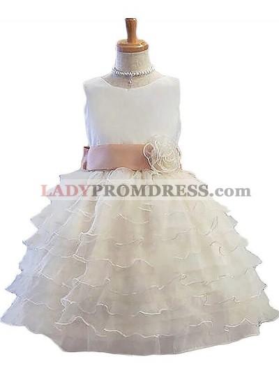 A-Line/Princess Sleeveless Jewel Hand-Made Flower Tulle Short/Mini First Communion Dresses / Flower Girl Dresses