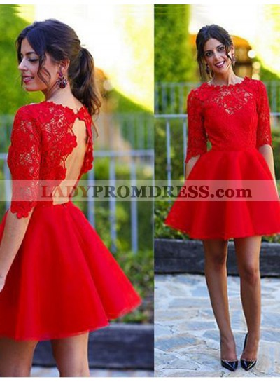 A-Line Princess Scoop 1/2 Sleeves Lace Short Homecoming Dresses