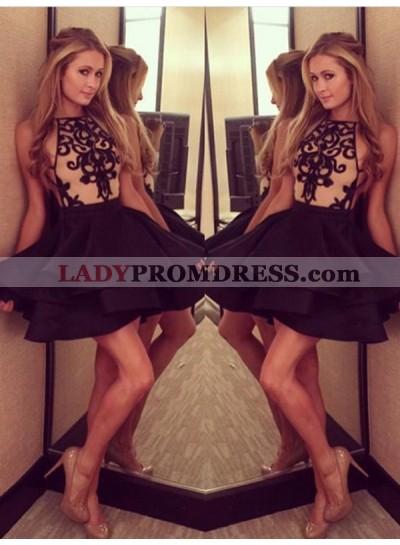 A-Line Princess Sleeveless Halter Short Satin Homecoming Dresses