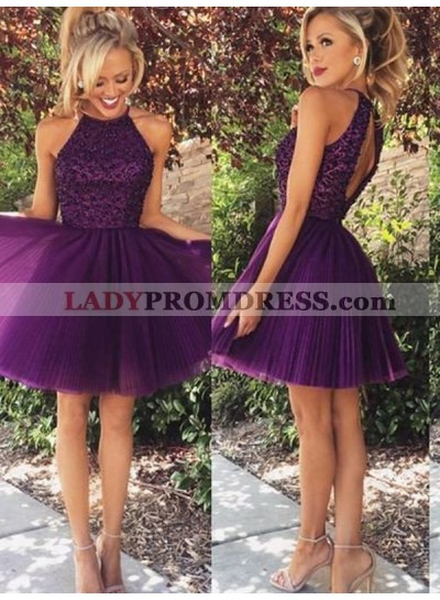 A-Line Princess Halter Sleeveless Beading Short Tulle Dresses