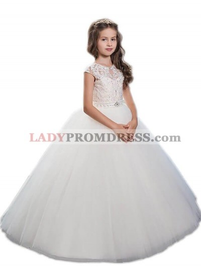 Ball Gown Scoop Sleeveless Beading Floor-Length Tulle First Communion Dresses / Flower Girl Dresses