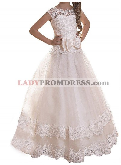 A-line/Princess Scoop Sleeveless Sash/Ribbon/Belt Tulle Floor-Length First Communion Dresses / Flower Girl Dresses