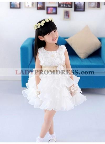 A-line/Princess Scoop Sleeveless Hand-made Flower Short Organza First Communion Dresses / Flower Girl Dresses