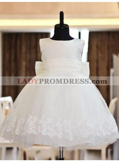 A-line/Princess Scoop Lace Sleeveless Long Organza First Communion Dresses / Flower Girl Dresses