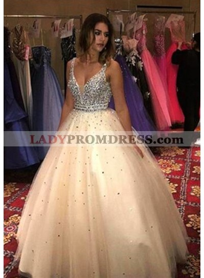 Newly Ball Gown Champagne Tulle V Neck 2019 Prom Dresses