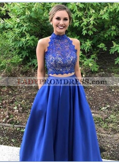 Newly A-Line/Princess Satin Royal Blue Two Pieces Lace Prom Dresses 2020