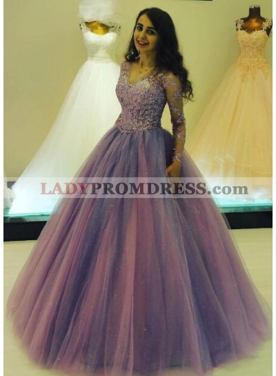 Elegant Ball Gown V Neck Tulle Long Sleeves Prom Dresses