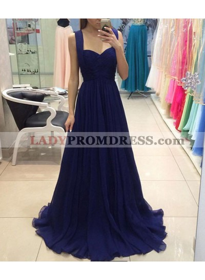 Cheap Chiffon Sweetheart Royal Blue A-Line/Princess 2021 Prom Dresses