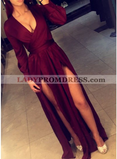 Sexy Burgundy Side Slit A-Line/Princess 2021 Long Sleeves Prom Dresses