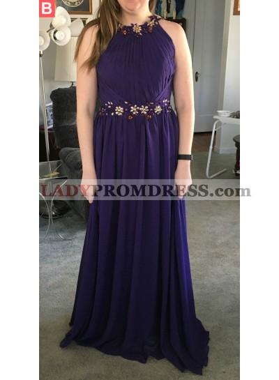 Cheap A-Line/Princess Chiffon Purple 2021 Prom Dresses