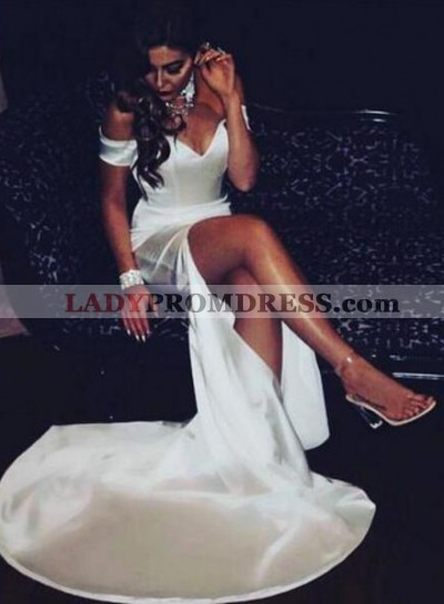 White Sheath Off The Shoulder Side Slit Sweetheart 2021 Prom Dresses