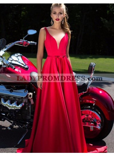 Elegant A-Line/Princess Satin Red Sweetheart 2021 Prom Dresses
