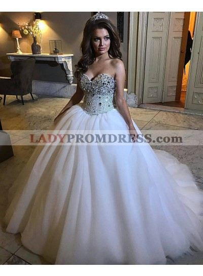 Princess Sweetheart With Diamonds White Ball Gown Wedding Dresses