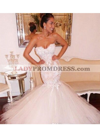 Sexy Mermaid Sweetheart 2021 Tulle Over Lace Wedding Dresses