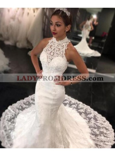 2021 New Mermaid High Neck Sweep Train Lace Wedding Dresses