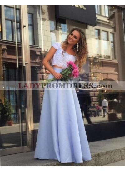 Cheap A-Line/Princess Satin Light Sky Blue Two Pieces 2021 Prom Dresses