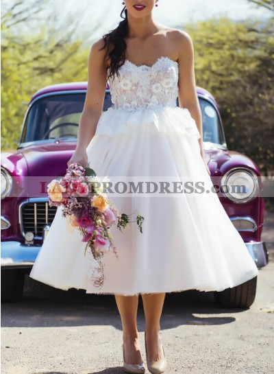 2021 A Line Cheap Tea Length Sweetheart With Lace Patterns Short Wedding Dresses