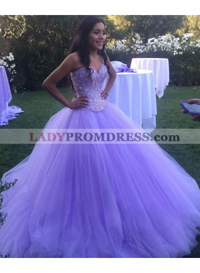 2021 Charming Lilac Sweetheart Tulle Ball Gown Prom Dresses