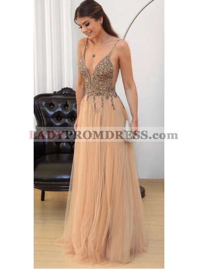Charming A-Line/Princess Tulle Champagne Beaded V Neck Prom Dresses 2021
