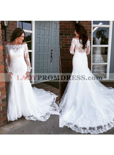 Sheath Off The Shoulder Long Sleeves Lace Wedding Dresses 2021