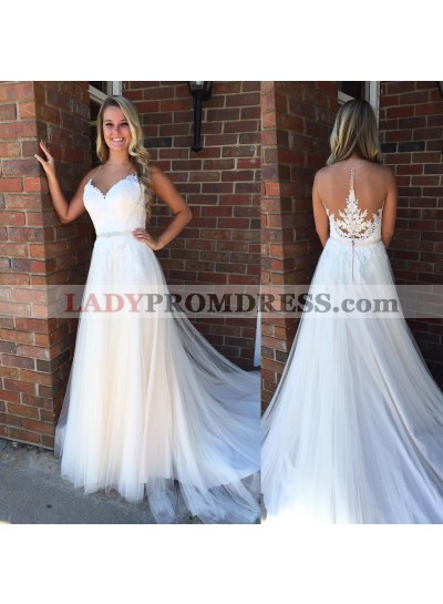 2020 Cheap Tulle A Line Sweetheart With Appliques Wedding Dresses