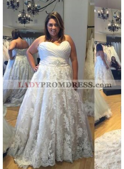 A Line Lace Sweetheart 2021 Cheap Plus Size Wedding Gown