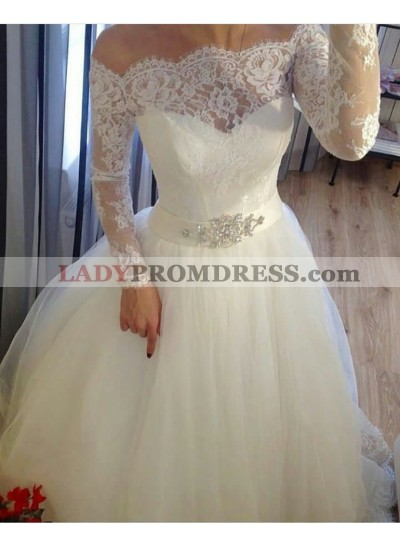 2020 A Line Off The Shoulder Long Sleeves Lace With Tulle Wedding Dresses