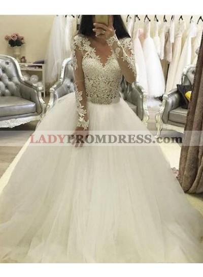 2021 A Line V Neck Long Sleeves Tulle Wedding Dresses